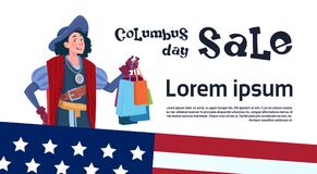 Happy Columbus Day Seasonal Holiday Sale Shopping Discount America Discover Poster Greeting Card Stock Photography