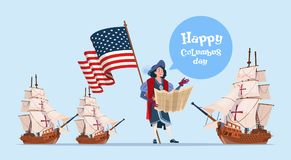 Happy Columbus Day Ship America Discovery Holiday Poster Greeting Card. Flat Vector Illustration Stock Photos