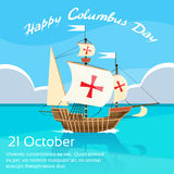 Happy Columbus Day Ship Holiday Ocean Blue Water Royalty Free Stock Photography