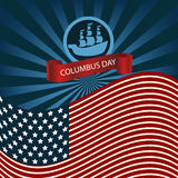 Happy Columbus Day Ship Holiday Poster United States America Fla Royalty Free Stock Photos