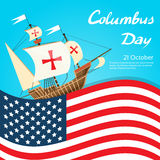 Happy Columbus Day Ship Holiday Poster United Stock Images