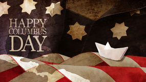 Happy Columbus Day. Stars and Stripes. Happy Columbus Day. Stars and Stripes Paper Boat and Chart Stock Images