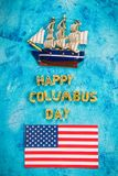 Happy Columbus Day text. Concept of the US holiday. The discoverer of America. Holiday States. Happy Columbus Day text. Concept of the US holiday. The Stock Photos