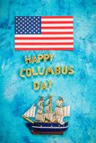 Happy Columbus Day text. Concept of the US holiday. The discoverer of America. Holiday States. Happy Columbus Day text. Concept of the US holiday. The Royalty Free Stock Image