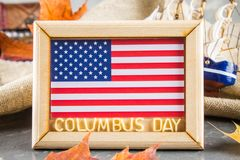 Happy Columbus Day text. Concept of the US holiday. The discoverer of America. Holiday States. Happy Columbus Day text. Concept of the US holiday. The Royalty Free Stock Photos