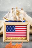 Happy Columbus Day text. Concept of the US holiday. The discoverer of America. Holiday States. Happy Columbus Day text. Concept of the US holiday. The Royalty Free Stock Photography