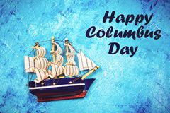Happy Columbus Day text. Concept of the US holiday. The discoverer of America. Holiday States. stock photography