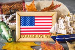 Happy Columbus Day text. Concept of the US holiday. The discoverer of America. Holiday States. Happy Columbus Day text. Concept of the US holiday. The Stock Photo