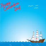 Happy columbus day. Text on ship on ocean background Royalty Free Stock Images
