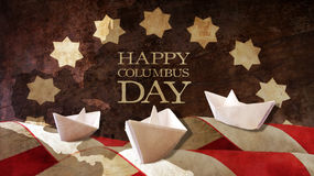 Happy Columbus Day. Three Paper Caravels Chart Flags. Happy Columbus Day. Three Paper Caravels Chart and Flag Waves Royalty Free Stock Photo