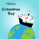 Happy Columbus Day. The trend calligraphy. Vector illustration on blue background. Great holiday gift card. caravel. On the globe Royalty Free Stock Image