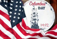 Happy Columbus Day. United States Flag. Stock Image