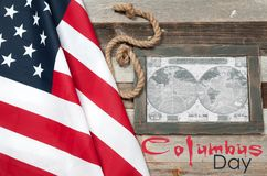 Happy Columbus Day. US flag. Map of the American continent. Happy Columbus Day. United States flag. Map of the American continent Royalty Free Stock Photography