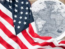 Happy Columbus Day. US flag. Map of the American continent. Happy Columbus Day. United States flag. Map of the American continent Royalty Free Stock Image