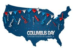 Free Happy Columbus Day. USA County Shape With Blue, Red, And White National Flag Colors Bunting, Confetti, And Ringlets. Celebration C Stock Photo - 158050880