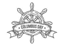 Happy columbus day vector hand drawn illustration engraved style. Retro vintage nautical. Doodle helm, ribbon. Sketch logo, emblem, banner, label. Isolated on Stock Photography