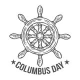 Happy columbus day vector hand drawn illustration engraved style.  Stock Photo