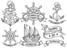 Happy columbus day vector hand drawn illustrations engraved set. Retro vintage nautical. Doodles, helm, boat, ship, anchor, ribbons. Sketch logo, emblem, banner Stock Photography