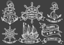 Happy columbus day vector hand drawn illustrations engraved set.. Retro vintage nautical doodles, helm, boat, ship, anchor, ribbons. Sketch logo, emblem, banner Stock Image