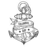 Happy columbus day vector hand drawn illustrations engraved style. Retro vintage nautical doodle anchor, ribbon. Sketch logo, emblem, banner, label. Isolated Stock Image
