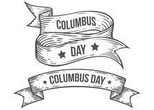 Happy columbus day vector hand drawn illustrations engraved style. Retro vintage nautical. Doodle ribbon. Sketch logo, emblem, banner, label. Isolated on white Royalty Free Stock Images