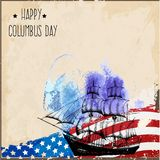 Happy Columbus Day. Vector illustration. Ready-made poster template in grunge style. The perfect solution for your congratulations Stock Photos