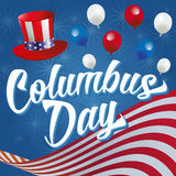 Happy Columbus Day. Columbus Day Vector Illustration. White Text on a blue background with American Flag, Hat, Balloons and Stars Royalty Free Stock Images
