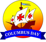 Happy Columbus Day. On white background Stock Images