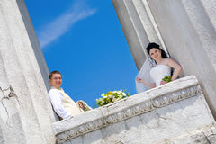 Happy in columns Royalty Free Stock Photo