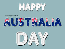 Happy the Commonwealth of Australia day. Different  lettering word of happy Commonwealth of Australia day with national flag and white gray gradient as paper or Royalty Free Stock Images