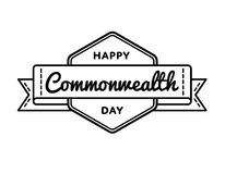 Happy Commonwealth day greeting emblem. Happy Commonwealth day emblem isolated raster illustration on white background. 13 march world holiday event label Royalty Free Stock Image