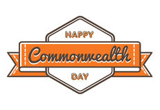 Happy Commonwealth day greeting emblem. Happy Commonwealth day emblem isolated vector illustration on white background. 13 march world holiday event label Stock Image