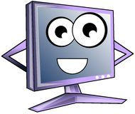 Happy computer cartoon in light blue tones Royalty Free Stock Photos