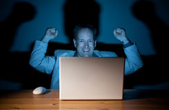 Happy computer guy Stock Images