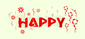 Happy concept card red shadow. Style shape vector Stock Photography