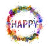 Happy concept, watercolor splashes as a sign Royalty Free Stock Photo