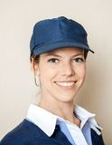 Happy Concession Worker At Cinema Royalty Free Stock Photos