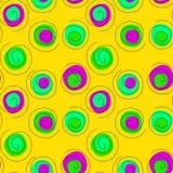 Happy Confetti Seamless Background. Yellow background with colorful happy confetti swirling background. Seamless tile Stock Photos