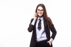 Happy confident businesswoman talking on the mobile cell phone Stock Photo