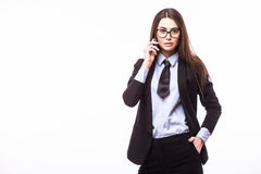 Happy confident businesswoman talking on the mobile cell phone Royalty Free Stock Image