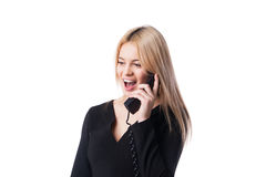 Happy confident businesswoman talking on the  phone Royalty Free Stock Photos
