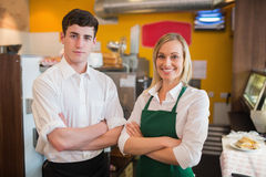 Happy confident coworkers in bakery Stock Image