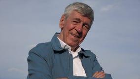 Happy Confident Elderly Old Man stock video footage