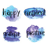 Happy, confident, grateful, positive inspirational hand lettering background Stock Photos