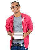Happy confident guy with books Stock Photos