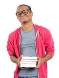 Happy confident guy with books Stock Photography