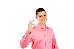 Happy confident man showing OK sign Royalty Free Stock Photo