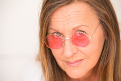 Happy confident woman red glasses Royalty Free Stock Photo