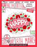 Happy - congratulatory poster design. Happy. Pop-art card for Women`s Day Holiday. Comic book style poster with lettering and flowers composition Royalty Free Stock Photography