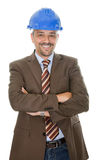 Happy construction engineer on white background Royalty Free Stock Image